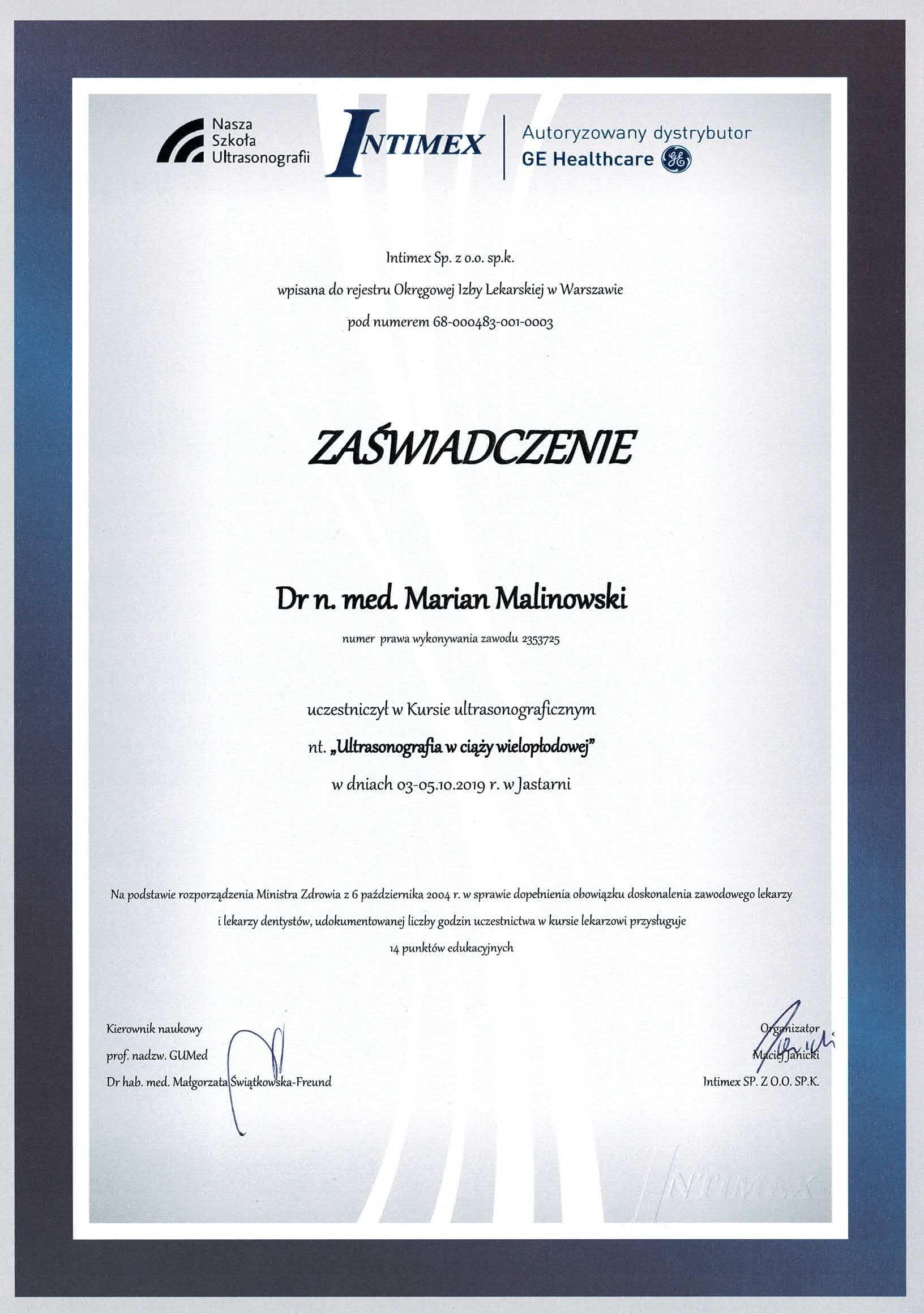 Mój certyfikat uczestnictwa w kursie